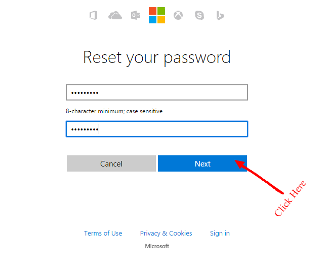reset your hotmail password