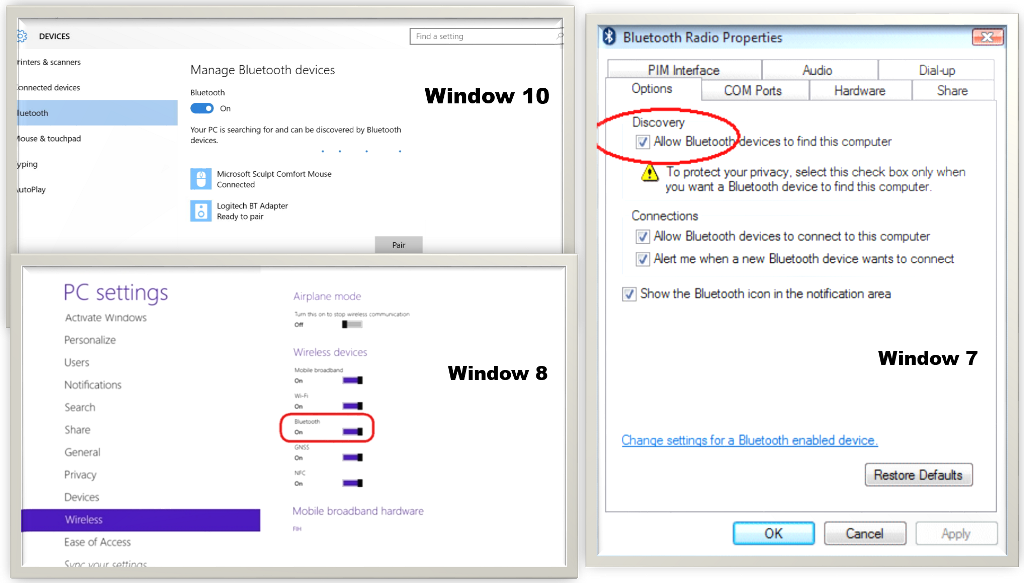 Bluetooth settings in window 7, window 8 and window 10