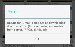: Error rpc:s-5:aec-0