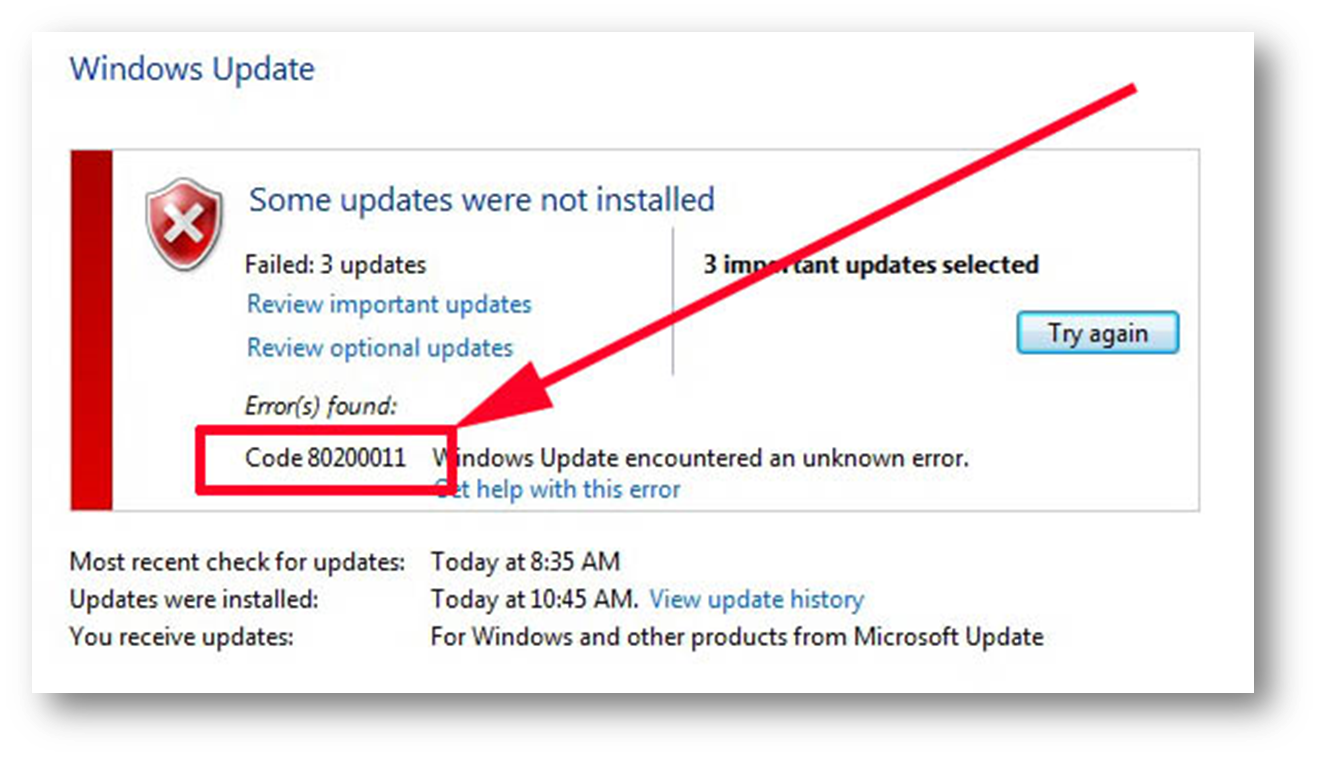 Windows update troubleshooter - Error Code 80200011