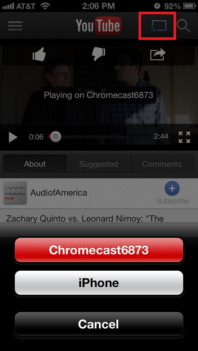 YouTube to chromecast