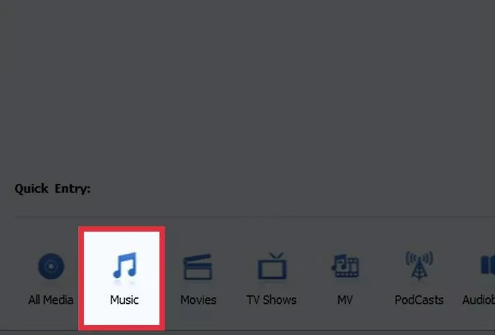 "Click the ""Music"" button"