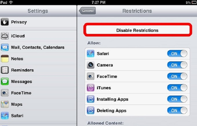 disable-restrictions