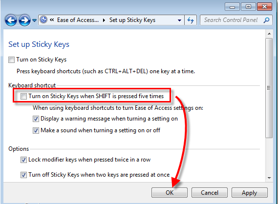 how to turn off sticky keys windows 10 permanently