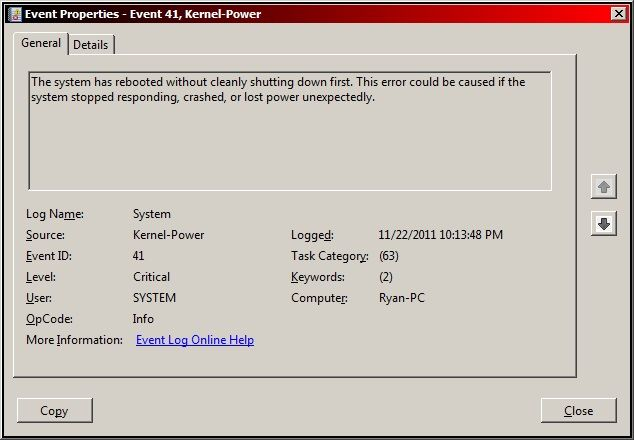 Fix Windows Kernel event ID 41 error