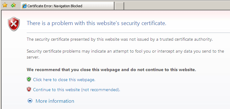 Security Certificate Error- Windows 8/10 Errors