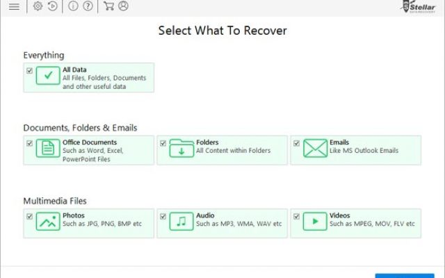 Step1: Make selection of the type of data which you wish to recover and then tap 'Next'.