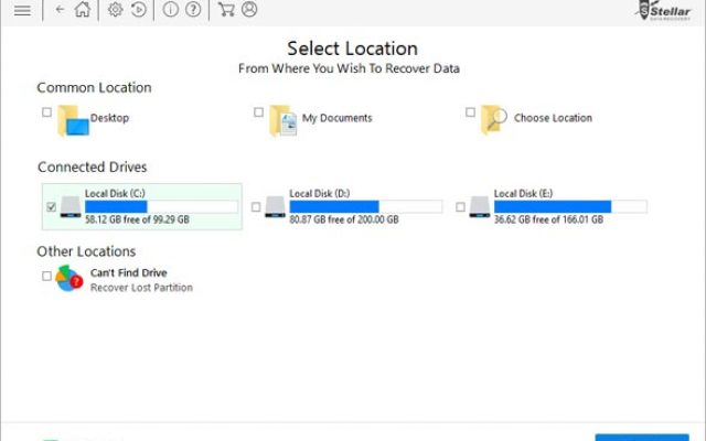 Step2: Select the location from where you wish to retrieve your lost data.