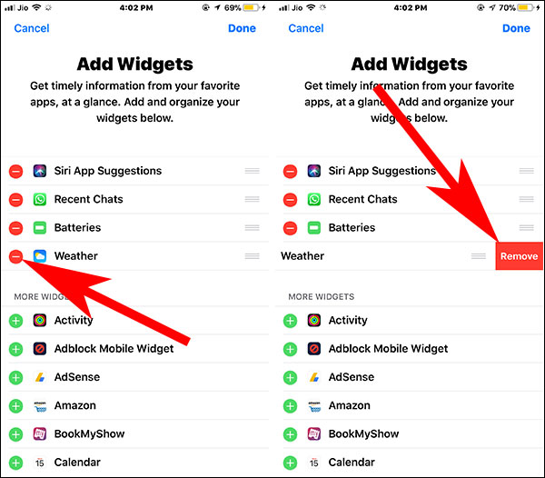 Disable Unwanted Widgets to fix iOS Battery drain Issue