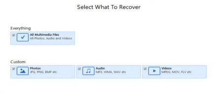Select the type of data you want to recover and then click 'Next'.
