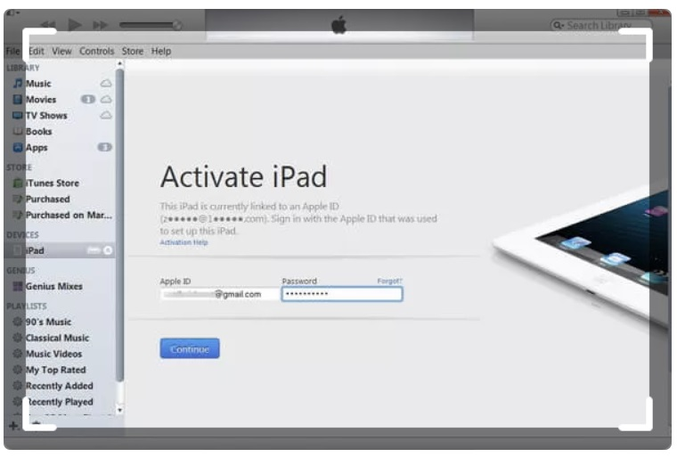 Reactivate iPad with iTunes