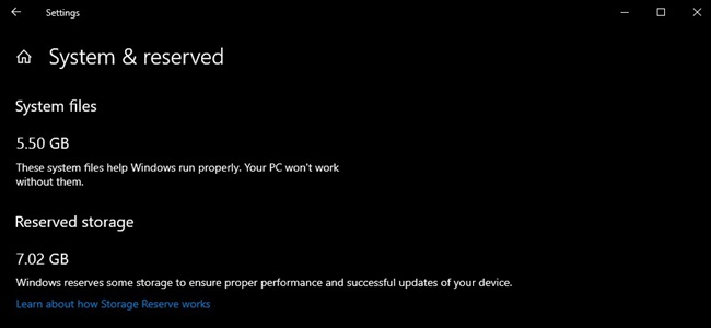 Windows 10 1903 Update Reserved Space for Updates