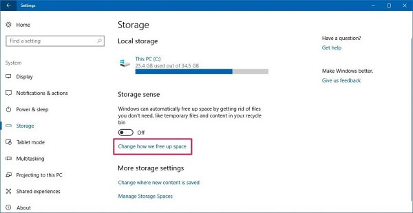 Storage Setting Windows 10