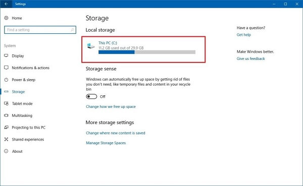 Storage Settings Windows 10