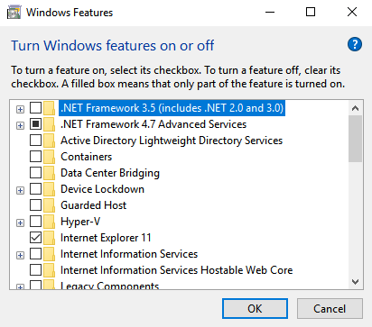 turn windows features