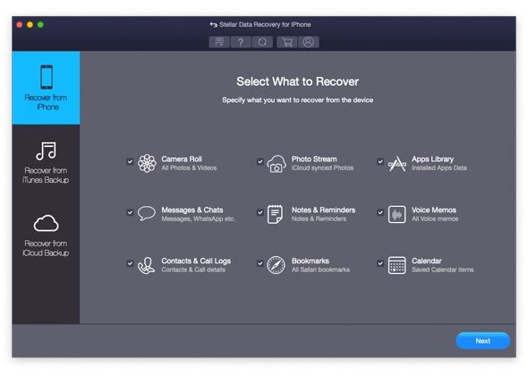 Stellar iPhone Data Recovery Mac 1