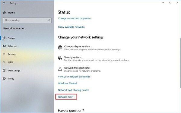 click 'Network reset' option